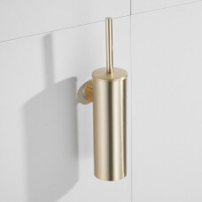 Saniclear Brass toiletborstel met wandhouder geborsteld messing mat goud