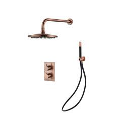 Saniclear Copper Pro inbouw regendouche met wandarm en 20cm hoofddouche geborsteld koper zwart