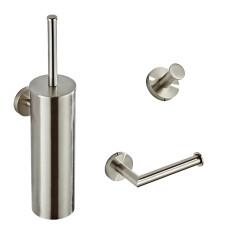 Saniclear Exclusive RVS toilet accessoire set incl toiletborstel, rolhouder en haak
