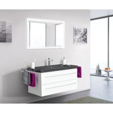 Saniclear Granite Black 100cm wit badkamermeubel met graniet bovenblad 1 kraangat