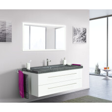 Saniclear Granite 130cm wit badkamermeubel met graniet bovenblad met 1 kraangat