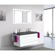 Saniclear Granite Black 100cm wit badkamermeubel met graniet bovenblad 2 kraangaten