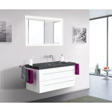 Saniclear Granite Black 100cm wit badkamermeubel met graniet bovenblad zonder kraangaten