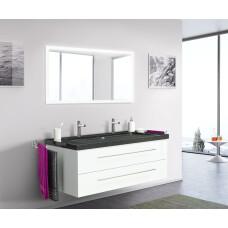 Saniclear Granite Black 130cm wit badkamermeubel met graniet bovenblad met 2 kraangaten