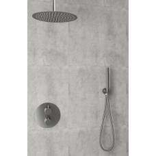 Saniclear Iron inbouw regendouche rond met 30cm hoofddouche en plafondarm verouderd ijzer
