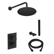 Saniclear Nero inbouw regendouche mat zwart met wandarm hoofddouche 30cm
