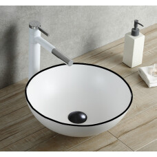 Saniclear Raja waskom 40cm wastafel rond wit met zwarte lijn