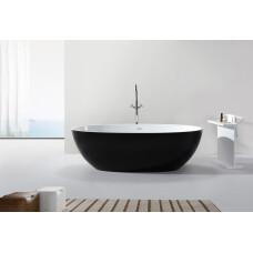 Saniclear Stilo vrijstaand bad solid surface mat zwart - wit 178x92x55cm