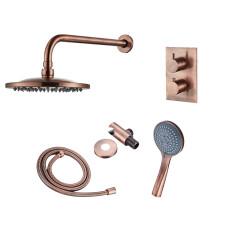 Saniclear Copper inbouw regendouche met wandarm 20cm hoofddouche en 3 standen handdouche