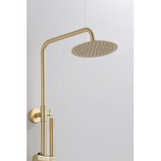 Saniclear Brass opbouw regendouche geborsteld messing / mat goud 20cm hoofddouche staaf handdouche