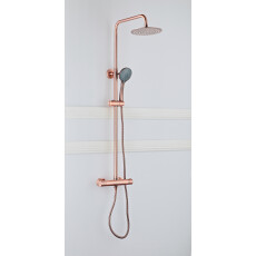 Saniclear Copper opbouw regendouche 20cm met thermostaatkraan en 3 standen handdouche koperkleurig