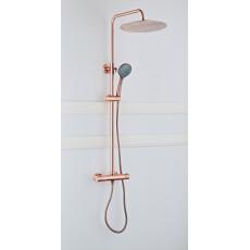 Saniclear Copper opbouw regendouche 30cm met thermostaatkraan en 3 standen handdouche koperkleurig