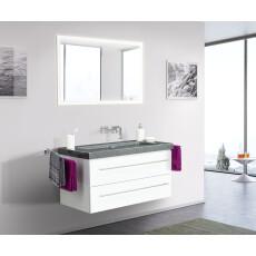 Saniclear Granite 100cm wit badkamermeubel met graniet bovenblad zonder kraangaten