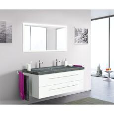 Saniclear Granite 130cm wit badkamermeubel met graniet bovenblad met 2 kraangaten