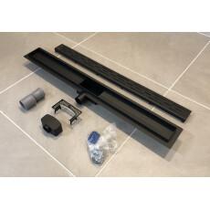 Saniclear Nero complete zwarte douchegoot 80cm met flens, RVS!