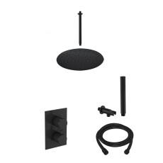 Saniclear Nero inbouw regendouche mat zwart met plafond arm 30cm hoofddouche
